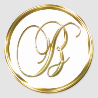 B Monogram Faux Gold Envelope Or Favor Seal Classic Round Sticker