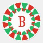 B Monogram (Funky Christmas) Round Stickers