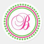 B Monogram (Hot Pink / Green Dot Circle) Classic Round Sticker