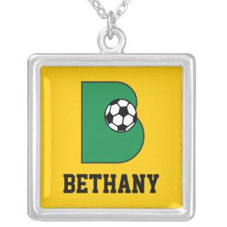 B Monogram in Soccer Green Square Pendant Necklace