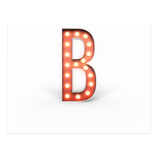 B Monogram Marquee Bulb Postcard