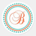 B Monogram (Orange / Teal Dot Circle) Round Stickers