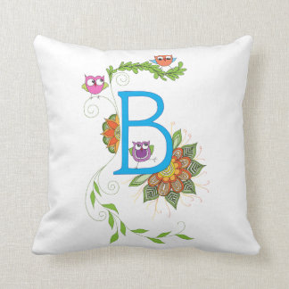 """""""B"""" monogram pillow with owls and flowers"""