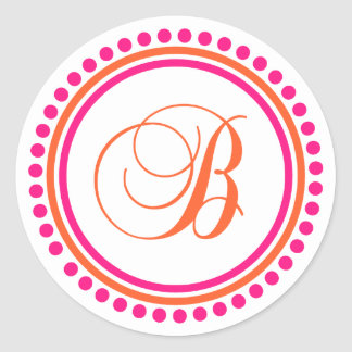 B Monogram (Pink / Orange Dot Circle) Classic Round Sticker