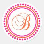 B Monogram (Pink / Orange Dot Circle) Sticker