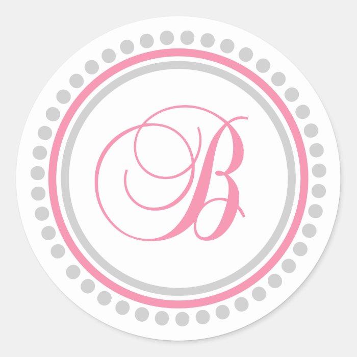 B Monogram (Pink / Silver Dot Circle) Classic Round Sticker