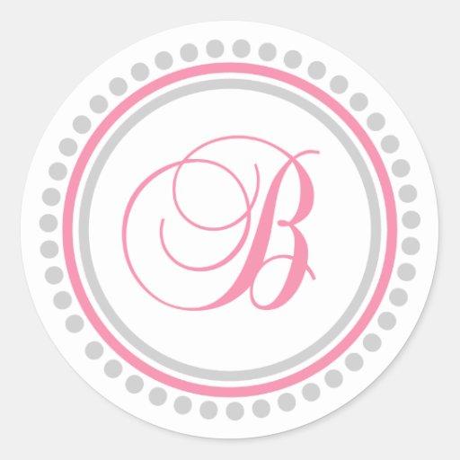 B Monogram (Pink / Silver Dot Circle) Round Sticker