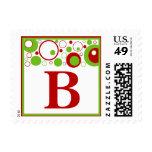 B Monogram (Red / Green Multiple Circles) Postage Stamp