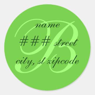 B monogram return address label - personalize info classic round sticker