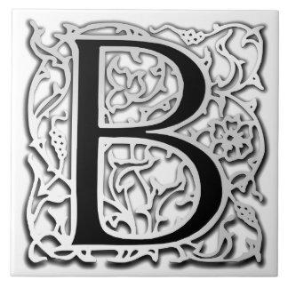 """B Monogram """"Silver Besque"""" Ceramic Tile"""