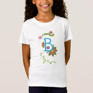 """B"" monogram tshirt with owls and flowers"