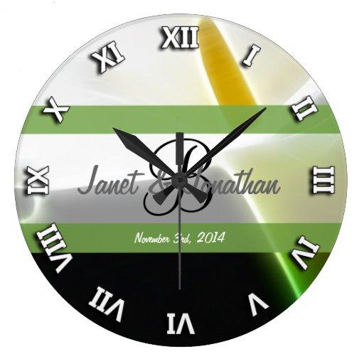 B Monogram with an Elegant Calla Lily Clock