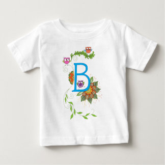 """B"" monogram with owls and flowers Baby T-Shirt"