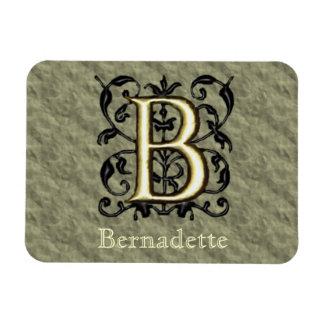 B - Monograma grabado en relieve del vintage (oro) Iman Rectangular