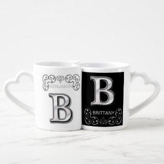 B - Monograma metálico moderno (plata) Tazas Amorosas
