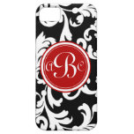 """B"" Monogrammed Damask in Red and Black iPhone 5 Cover"