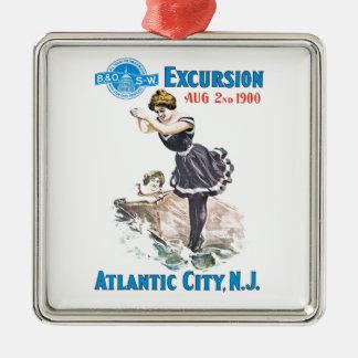 B+O Railroad Excursion 1900 Square Ornament Silver-Colored Square Ornament