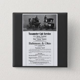 B+O Railroad Taxameter Cab Service 1908 Button