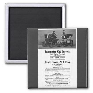 B+O Railroad Taxameter Cab Service 1908 Magnet