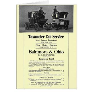 B+O Railroad Taxameter Cab Service 1908 Stationery Note Card