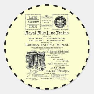 B+O Royal Blue Line Trains 1910 Classic Round Sticker