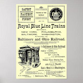 B+O Royal Blue Line Trains 1910 Poster