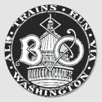 B O Royal Blue Line Trains 1910 Round Sticker