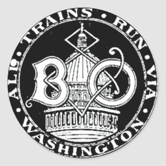 B+O Royal Blue Line Trains 1910 Round Sticker