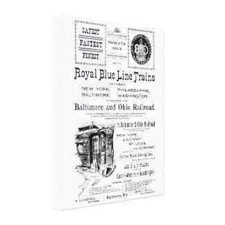 B+O Royal Blue Line Trains 1910 Wrapped Canvas