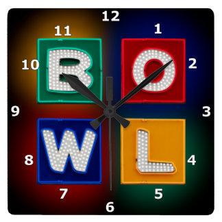 B O W L neon Square Wall Clock