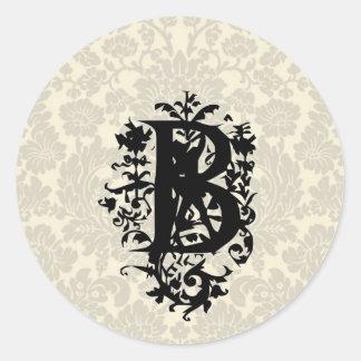 """B"" Ornate Baroque Monogram Classic Round Sticker"