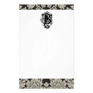 """B"" Ornate Baroque Monogram Stationery"