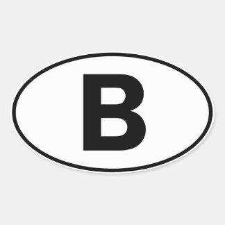 B Oval ID Oval Sticker