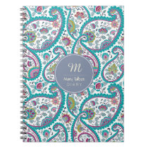 B Persian  Boteh Paisley Pattern Monogram Diary N Notebook