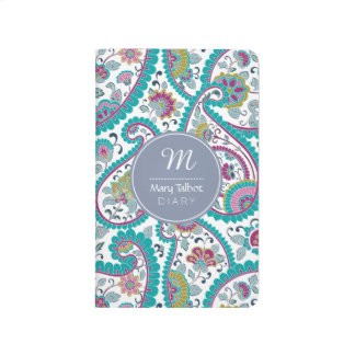 B Persian  Boteh Paisley Pattern Monogram Pocket J Journal