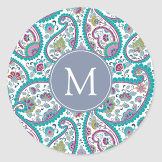 B Persian  Boteh Paisley Pattern Monogram Sticker