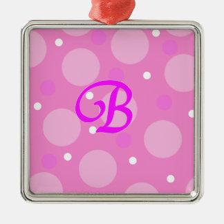 B Pink Metal Ornament