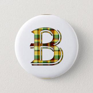 B Plaid Initial Pinback Button