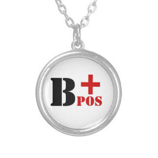 B + POS BLOOD TYPE SILVER PLATED NECKLACE