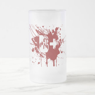 B Positive Blood Type Donation Vampire Zombie Frosted Glass Beer Mug