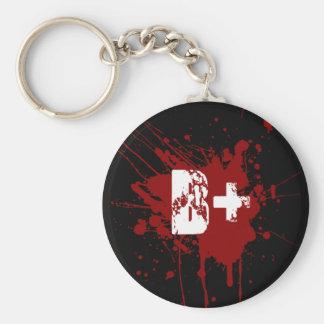 B Positive Blood Type Donation Vampire Zombie Keychain