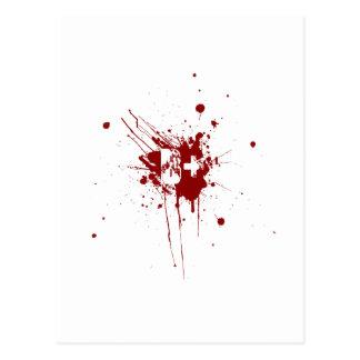B Positive Blood Type Donation Vampire Zombie Postcard