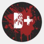 B Positive Blood Type Donation Vampire Zombie Stickers