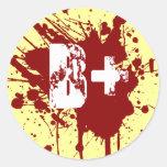 B Positive Blood Type Donation Vampire Zombie Round Sticker