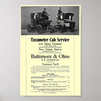 B+Poster 1908 del servicio del taxi de Taxameter d