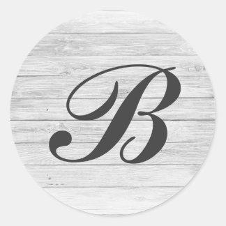 (B) Rustic Wood Monogram | Monogram Shop Classic Round Sticker