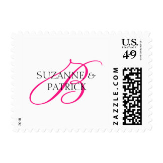 B Script Monogram With Names Postage (Hot Pink)
