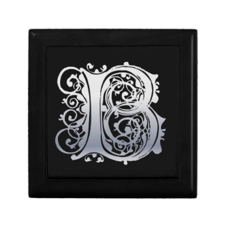 B Silver Lace Monogram Tile Inlay Decorative Box