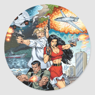 B@stard Stew Action Comic Art by Al Rio Classic Round Sticker