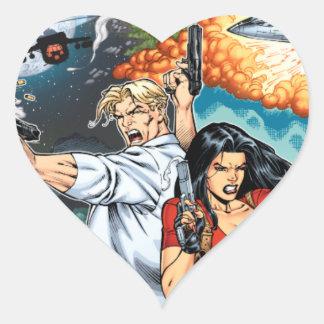 B@stard Stew Action Comic Art by Al Rio Heart Sticker